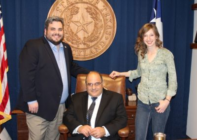 Rep. Stickland (HB 375 author), John Velleco of GOA, and Rachel Malone of TFF